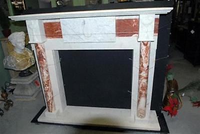 Hand Carved Marble Fireplace Mantel with Columns & Center Relief. Red and White