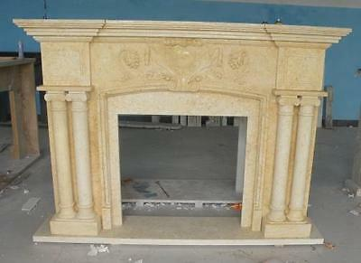 Marble Fireplace Mantel featuring Large Columns for Surround, Simple Design