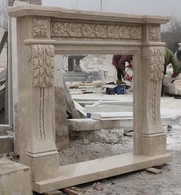 Marble Fireplace Mantel Hand Carved Spanish Beige Greco-Roman Fireplace #4551