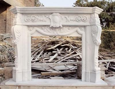 Marvelous Fireplace Mantel in Hand Carved Marble, Nice carvings