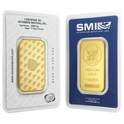 Sunshine Mint 1 oz Gold Bar .9999 Fine (In Assay)