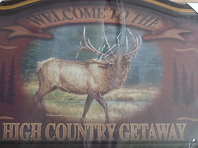 WELCOME TO THE HIGH COUNTRY SIGN / WALL PLAQUE w/ ELK CABIN MAN CAVE DEN NIP