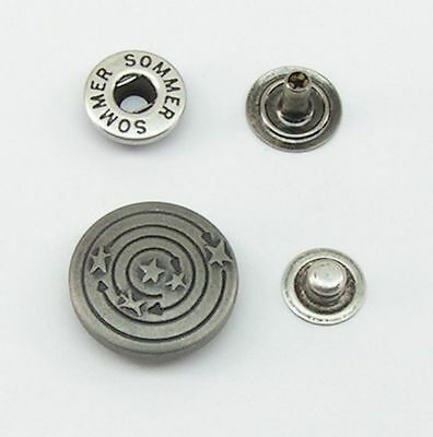 10 Poppers Push buttons 20mm antiqued silver stainless 07.47