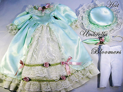 Victorian Style Blue Doll dress for porcelain doll