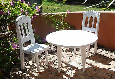 WHITE  WOOD TABLE & CHAIRS for 1/12th scale MINIATURE GARDEN