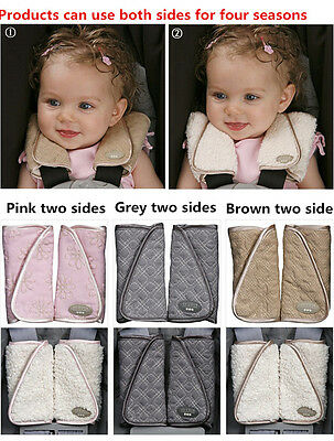 2PC JJ Cole Collections Baby Child Car Seat Strap Covers Reversible Strap Covers