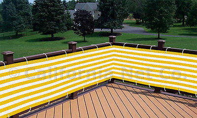 Yellow / White Outdoor Privacy Screen Net Sun Wind Shield - Deck, Balcony, Patio