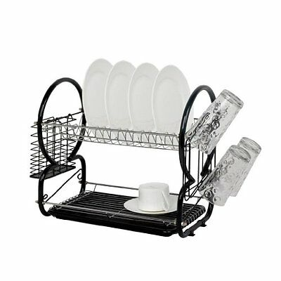 2 Tier Dish Drainer Chrome Rack with Glass Utensil Cutlery Caddy & Drip Tray
