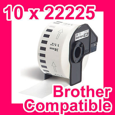 10 Rolls of Compatible Brother DK-22225 38mm Continuous Paper Tape
