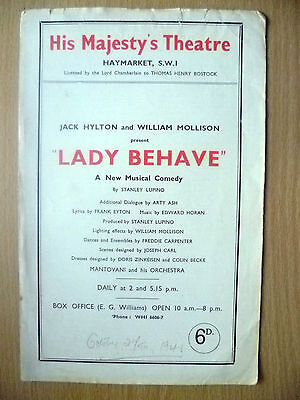 His Majesty's Theatre Programme- LADY BEHAVE by Stanley Lupino