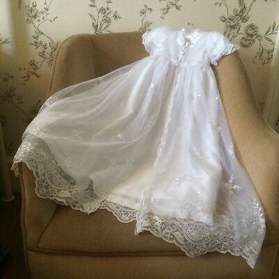 New Full Length White Baby Girls Christening Gown Dress & Bonnet 0-18 Months