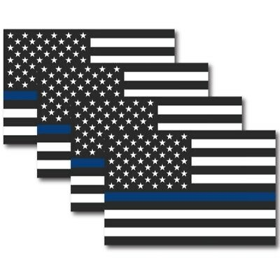 Police Officer Thin Blue Line American Flag 4x6 Magnet Decal - Heavy Duty 4 Pack