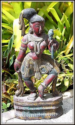 "Lovely ""Hand Carved & Painted Wooden Apsara from India"" (25.5"" H x 12"" W x 5"" D)"