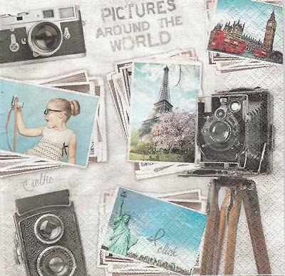 2 Serviettes en papier Photo de Voyages Decoupage Paper Napkins Travel pictures