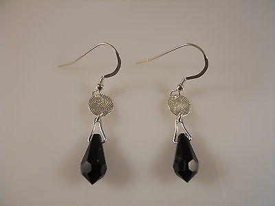 Sterling Silver, Faceted Black Pear Shape Stone Earrings