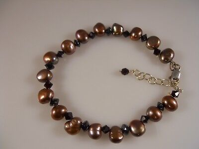 Sterling Silver, Faceted Ruby Swarovski Element And Freshwater Pearl Bracelet
