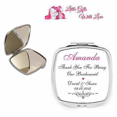 Personalised Bridesmaid Compact Mirror Wedding Favour Thank You Keepsake Gift .