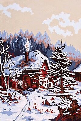 Grafitec Printed Tapestry Needlepoint Canvas - Winter Cabin