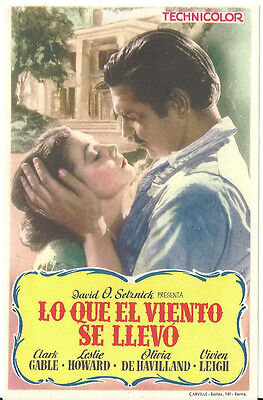 Gone With The Wind Clark Gabel Vivien Leigh Very Rare Spanish Herald Mini Poster