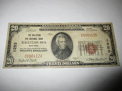 $20 1929 Ballston Spa New York NY National Currency Bank Note Bill! #1253 FINE