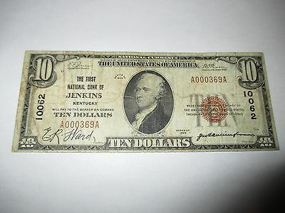 $10 1929 Jenkins Kentucky KY National Currency Bank Note Bill Ch. #10062 RARE