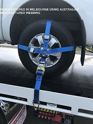 (4 Pack) Car Carrying Ratchet Tiedown, Trailer Tie Down, Car Wheel Harness