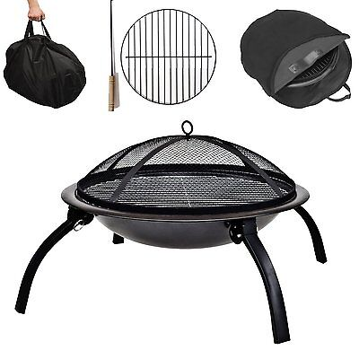 Fire Pit Folding Garden BBQ Bowl Outdoor Camping Log Charcoal Patio Heater