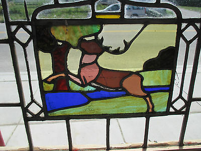 Antique American Stained Glass Window Deer Stag 40X26 Architectural Salvage ~