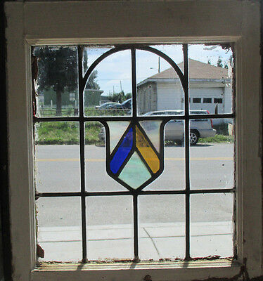 ANTIQUE AMERICAN STAINED GLASS WINDOW 21.5 x 23.75 ARCHITECTURAL SALVAGE ~