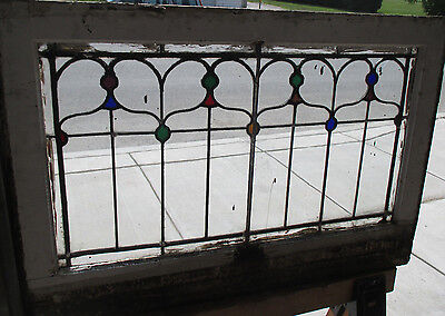 ANTIQUE AMERICAN STAINED GLASS TRANSOM WINDOW 36 x 24 ARCHITECTURAL SALVAGE ~