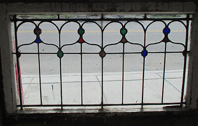 ANTIQUE AMERICAN STAINED GLASS TRANSOM WINDOW 36 x 24 #2 ARCHITECTURAL SALVAGE ~