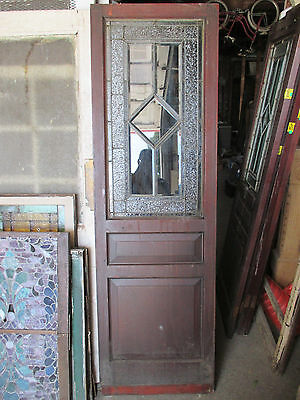 ~  ANTIQUE STAINED GLASS PANTRY DOOR MAHOGANY 25 x 80 ~ ARCHITECTURAL SALVAGE ~