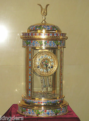 Excellent French Round Royal Style CLOISONNE CLOCK/ Pendulum enameled