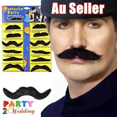 Black Self Adhesive Costume Fancy Stylish Party Fake Mustache Moustache 12pcs