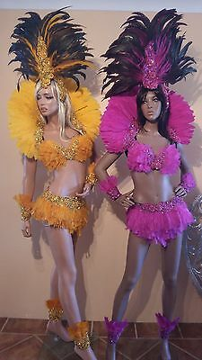 Brazilian SAMBA Sequin Feather Bikini SET- 3 Pieces Many Colors Costumes AU 8-10