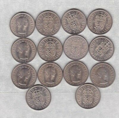 24 x 1966 SCOTTISH SHILLINGS IN NEAR MINT CONDITION