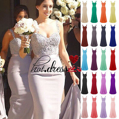 Stock Long Formal Chiffon Evening Party Prom Gowns Wedding Bridesmaid Dress 6-20