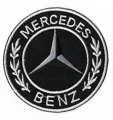 Mercedes Benz Patch Embroidered Iron on Badge Applique Silver/Black Racing Retro