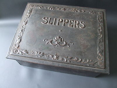 Antique or vintage tin slipper box with hinged lid