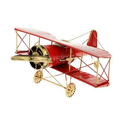 Vintage Airplane Biplane Collectibles Gift Kids Toy Office Decor Red