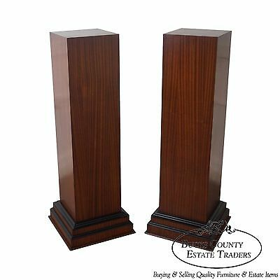 Quality Pair of Art Deco Style Mahogany Tall Pedestals