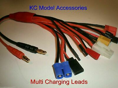 RC Multi Charging Leads 8 Plugs Adapter With Banana Plug XT60 JST Tamiya Traxxas