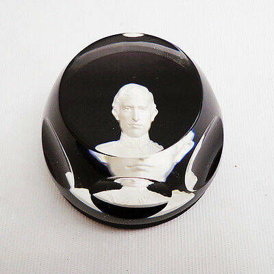 Prince of Wales Baccarat Glass Paperweight Cameo Limited Edition Boxed