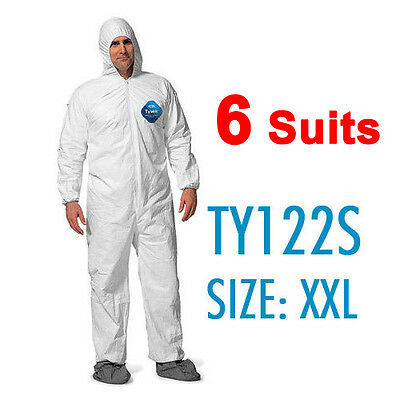 6 Suites Dupont Tyvek Coverall Bunny Suite with Hood and boots - TY122S / 2XL