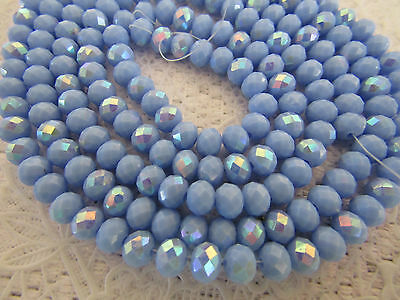100 pcs RONDELLE FACETED GLASS CRYSTAL BEADS 6 mm Lavender Blue AB