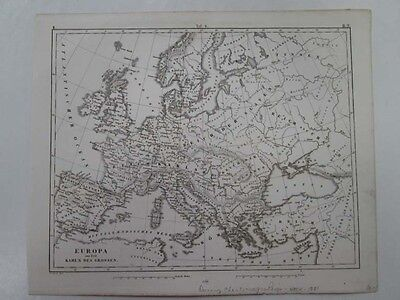 Vintage Map,EUROPE DURING CHARLMAGNE REIGN,Heck,1851
