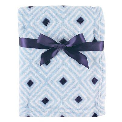 Luvable Friends Baby Boys Print Coral Fleece Blanket Blue Diamond Design