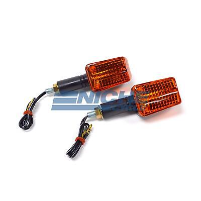 Mini Rectangular Turn Signals Lights 37mm Stem 12 Volt Black Amber