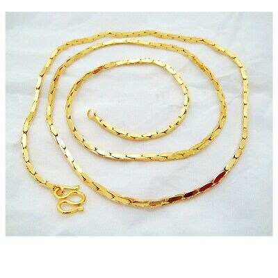 2 MM 22K 23K 24K THAI BAHT YELLOW GOLD GP NECKLACE 18 inch Jewelry