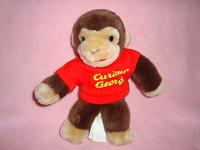"Curious George Monkey in Red Shirt Gund Margret Rey 8"" tall Plush 1990"